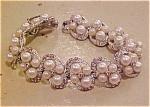 Bracelet w/faux pearls & rhinestones