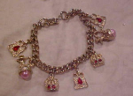 charm bracelet with crowns & rhinestones