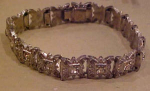 Art Deco Pot Metal & Rhinestone Bracelet