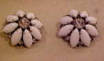 White glass & clear rhinestone flower earring