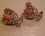 Pink and clear rhinestone earrings