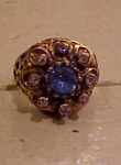 Click here to enlarge image and see more about item b1531: Rhinestone Ring w/ Blue & Clr Rhinestones