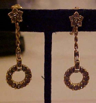 Dangling black diamond rhine earrings