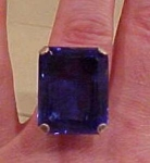 Sterling Ring with Large Blue Glass Stone