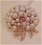 Trifari pin w/faux pearls & rhinestones