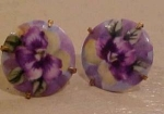 Hand painted Art nouveau earrings