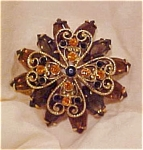 Topaz, Brown  & Blk rhinestone pin