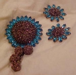 Click here to enlarge image and see more about item b1884: Sterling & Rhinestone pin and Earring set