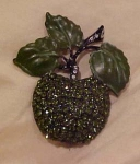 Rhinestone & Enamel Apple Pin