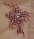 Retro Vermiel 1940's Fish pin w/ rhinestones