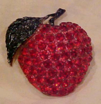 Red Rhinestone Apple Pin