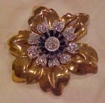 Retro 1940's vermeil flower pin rhinestones