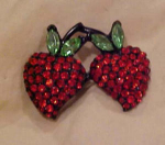 Double Cherry Rhinestone Pin