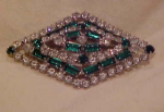 Green and clear rhinestone pin