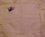 Embroidered flower & crocheted trim hankie