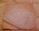 2 handkerchiefs on original card lace