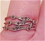 Sterling triple band ring w/marcasites
