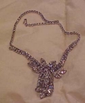 Floral design rhinestone necklace