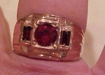 Mens 14k gf ring with red rhinestones