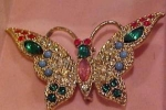 Click here to enlarge image and see more about item b2051: Rhinestone Butterfly pin in Box