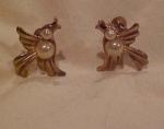 Bird earrings with faux pearls