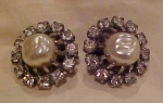 Weiss faux Pearl & Rhinestone earrings