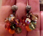 Dangling crystal bead earrings