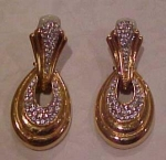 Ciner goldtone and rhinestone earrings
