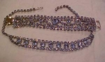 Click here to enlarge image and see more about item b2224: lt blue rhinestone necklace and bracelet