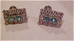 Earrings with blue and clear rhinestones