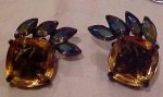 Topaz & AB rhinestone earrings