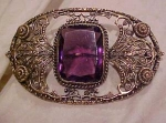 Art Nouveau sash pin w/amethyst glass