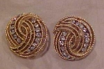 Trifari goldtone and rhinestone earrings