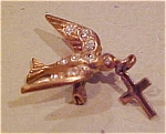 Bird pin with cross and rhinestones