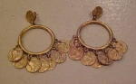 1960's coin earrings
