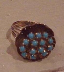 Click here to enlarge image and see more about item b6465: 14kt gold ring w/blue dyed howlite