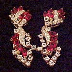 Red and Clear Rhinestone earrings
