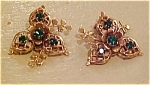 1940's flower earrings with rhinestones