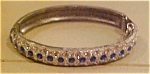 Art Deco cl/blue rhinestone bangle