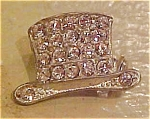 2 rhinestone top hat pins