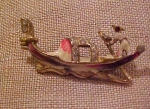 Boat pin with enameling and rhinestones