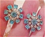Coro blue and clear rhinestone earrings