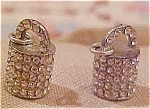 Pair of pot metal and rhinestone charms