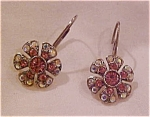 Pink and ab rhinestone earrings