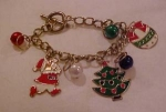 Click here to enlarge image and see more about item b7393: Christmas charm bracelet