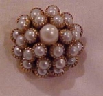 Faux pearl tiered button