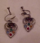 Pot metal and rhinestone earrings