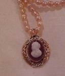 Victorian Cameo pendant on pearl chain