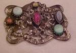 Art Nouveau silver sash pin w/stones
