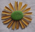 Metal flower pin sunflower 1960's